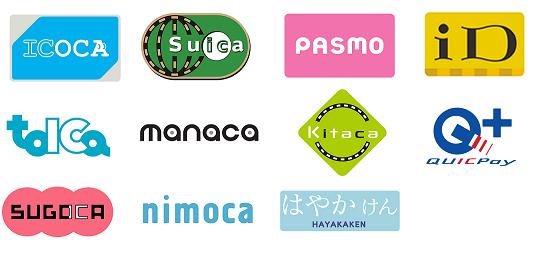 ICOCA,Suica等交通系ICカード,iD,QUICPay